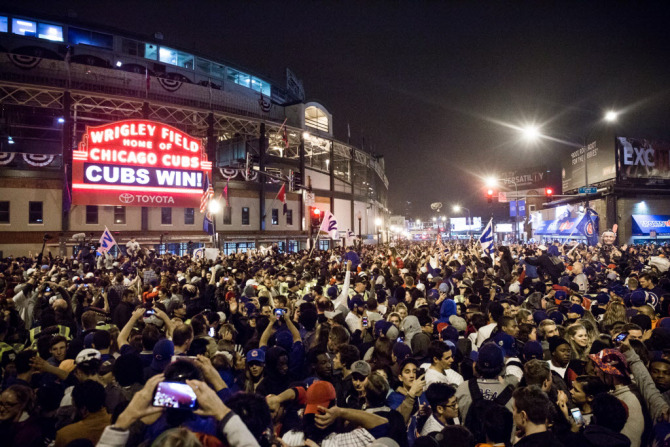 Celebration at Wrigley after Cubs win World Series. | Santiago Covarrubias/Sun-Times